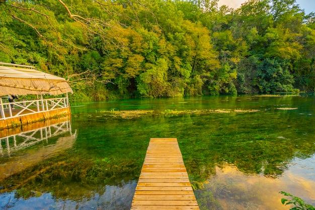 澄んだ青い水の夏の景色を望むブルーアイ(水の泉)(アルバニア、ブロア郡のムジンの近く)。