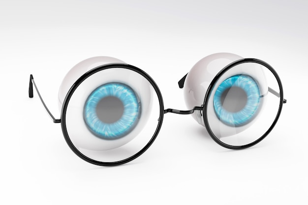 The blue eyeball of the human eye and black round glasses put on white