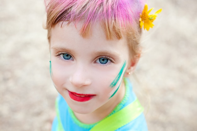 Blue eyes  children girl  pinted face makeup