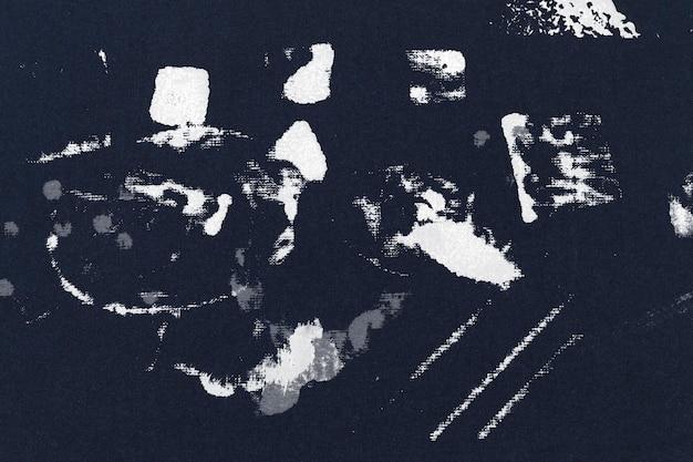 ブロックプリントの汚れと青い布の背景