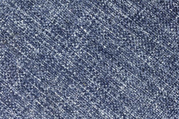 青い布繊維とキャンバスのテクスチャ、高解像度のテキスタイルデザインの背景、クローズアップ写真