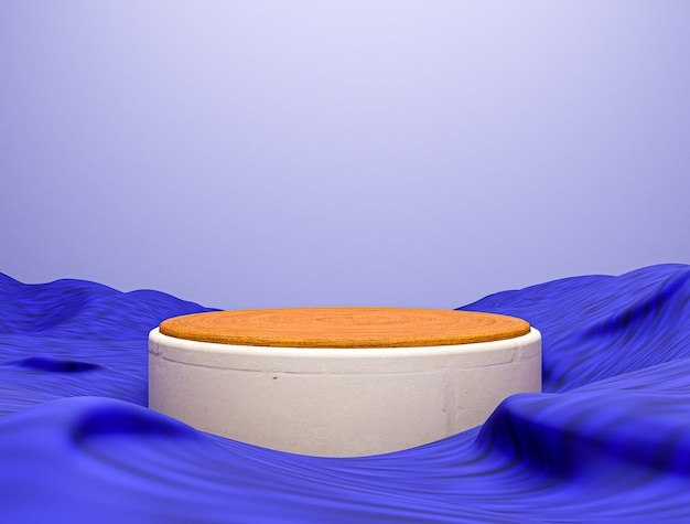 Blue fabric and pedestal stage blank podium, abstract 3d composition