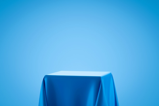 Blue fabric on podium shelf or empty studio display on light blue gradient wall with art style. blank stand for showing product. 3d rendering.