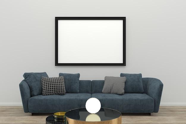 블루 패브릭 소파 사진 프레임 원형 램프 거실 인테리어 3d 템플릿 프리미엄 사진