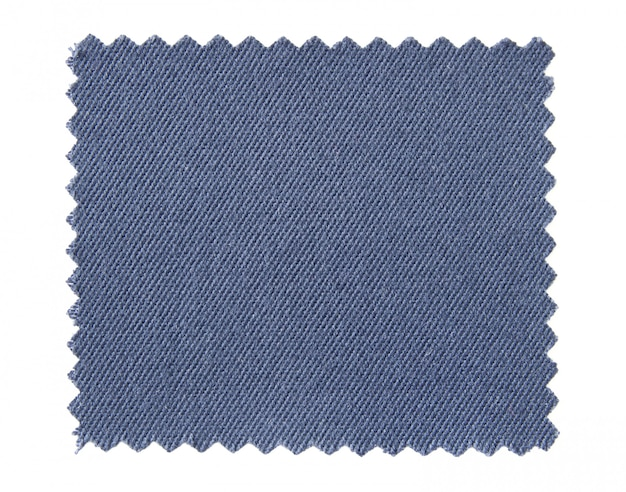 Blue fabric swatch samples isolated on white background