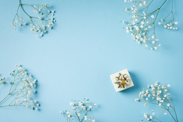 Blue fashion, flowers flat lay background