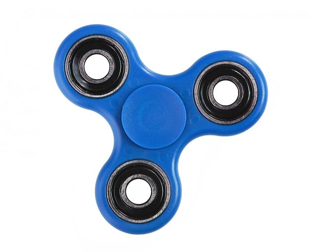 Blue fidget spinner on white background