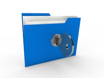 Blue filing cabinet with a key