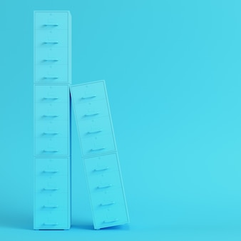 Blue filing cabinets on bright blue background