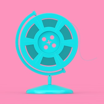Blue film reel with cinema tape in the shape of earth globe as duotone style on a pink background. 3d rendering