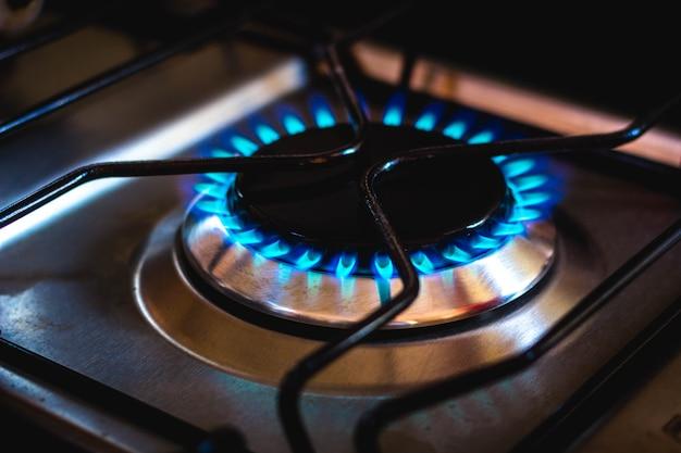 Blue fire produced by cooking gas liquefied petroleum gas  glp gas de cozinha of brazil