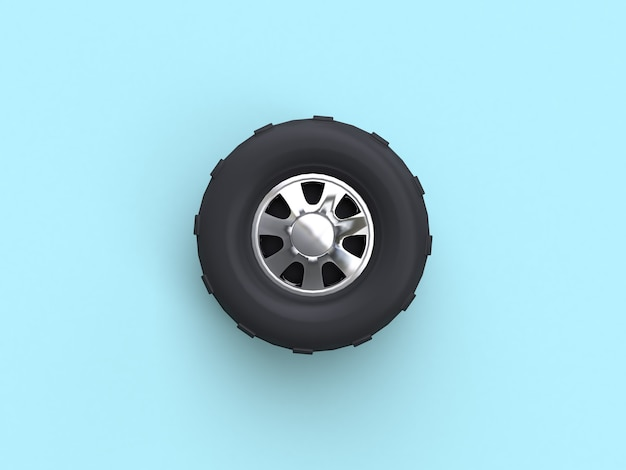 Blue flat lay scene truck wheel 3d rendering