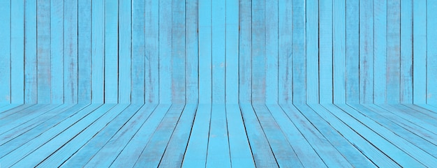 Blue floor and wall wood