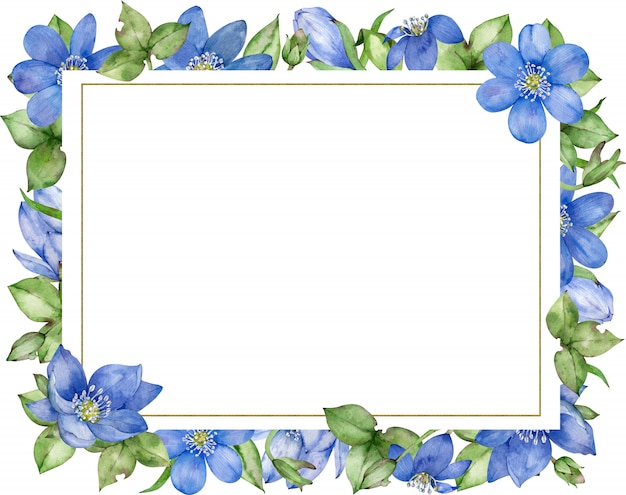 Blue floral frame. wedding invitation and birthday card. hand-drawn watercolor illustration.