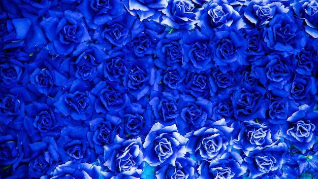 背景の青い花。