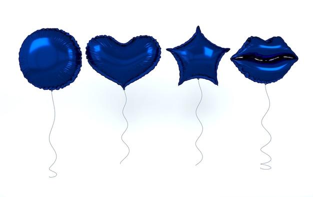 블루 호일 풍선 흰색 절연