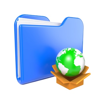 Blue folder with green earth globe. isolated on white.