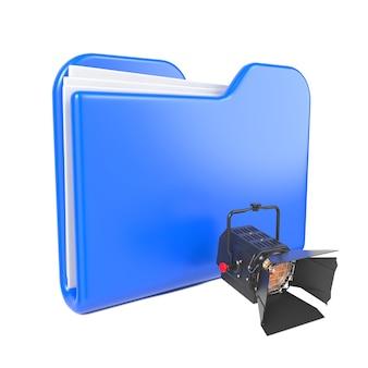 Синяя папка с профессиональным прожектором. изолированные на белом.