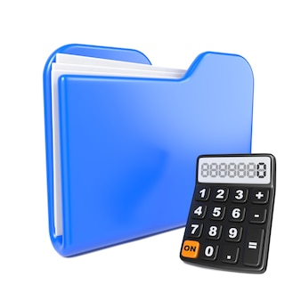 Blue folder with toon calculator. isolated on white.
