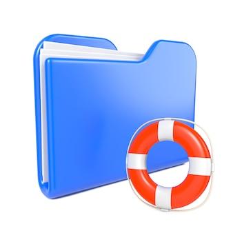 トゥーン救命浮輪と青いフォルダー。白で隔離。