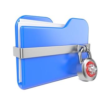 トゥーン南京錠と青いフォルダー。白で隔離。