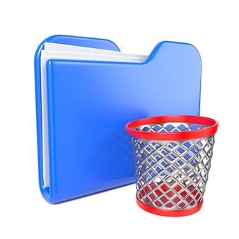 トゥーンゴミ箱と青いフォルダ。白で隔離。