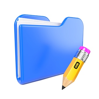 Blue folder with yellow pencil. isolated on white.