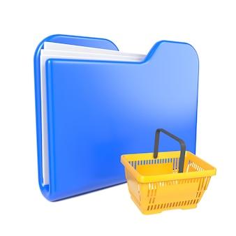 黄色の買い物かごが付いている青いフォルダー。白で隔離。