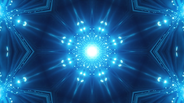 Blue fractal kaleidoscopic background