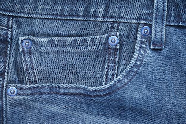 Blue front jeans pocket, close-up