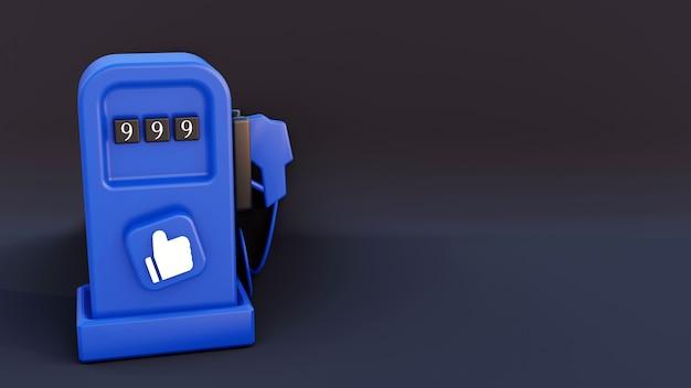 バッジのようなソーシャルメディアを備えた青いガソリンスタンド