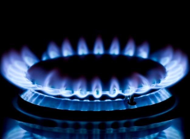 Blue gas stove in the dark