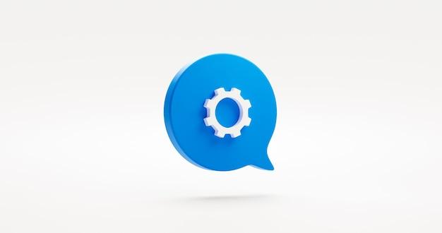 파란색 기어 설정 아이콘 기호 또는 기술 산업 기계 장부 옵션 기호 및 그림 디자인 그래픽 요소 연설 거품 엔지니어링 톱니 바퀴와 흰색 배경에 고립. 3d 렌더링.