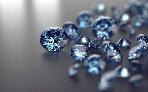 Blue gem stones group placed on black background