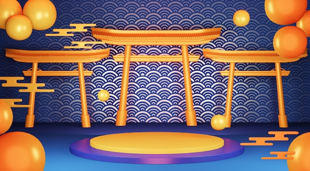 Синий геометрический подиум японская традиция подиума.