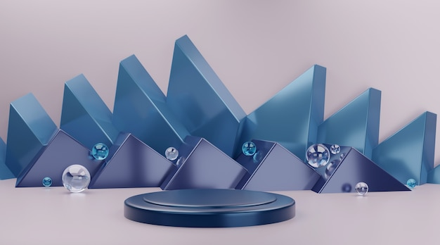 Blue geometric podium scene for product display.