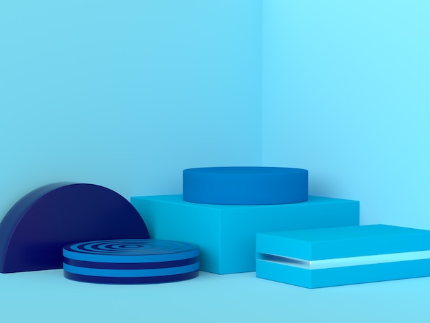 Blue geometric shape set abstract corner scene 3d rendering