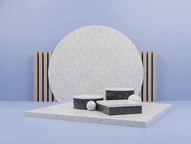 Blue geometric shape with marble podium for product display