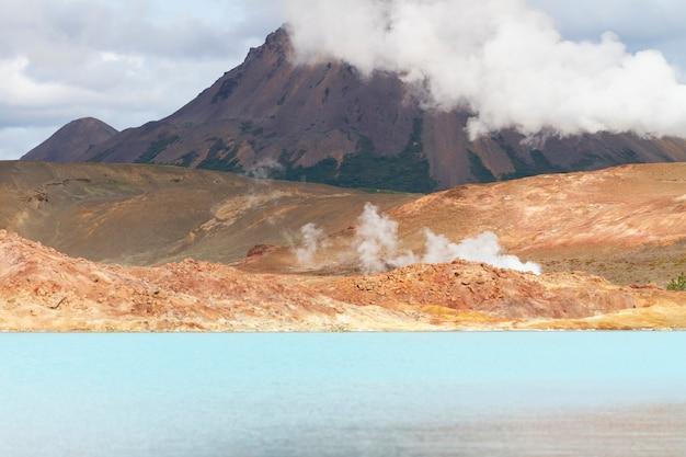 Blue geothermal lake in iceland