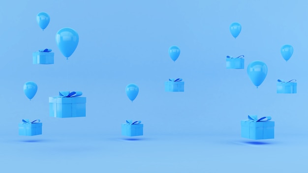 파란색 선물 배경 및 떠 있는 풍선, 시상식 축제 또는 생일 파티, 선물 배경, 제품 프레젠테이션, 3d 렌더링