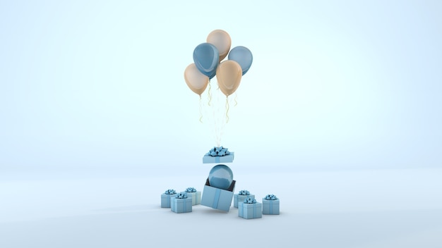Blue gift box and balloon floating minimal blue background