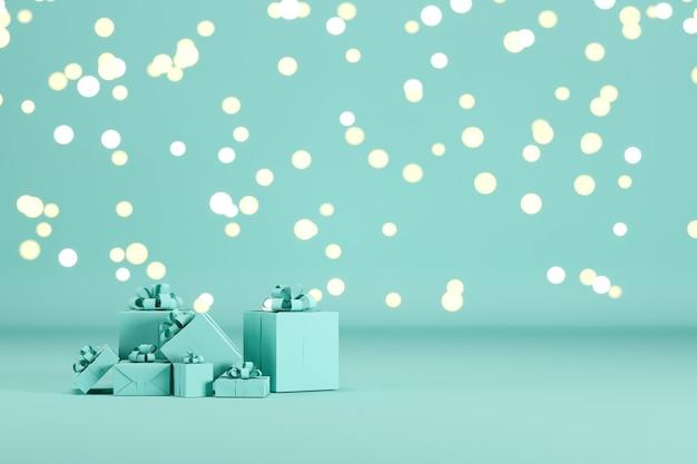 青いギフトボックス照明ボケ背景の青い色の背景に設定します。 3dレンダリング。最小限のクリスマス新年のコンセプト。セレクティブフォーカス。