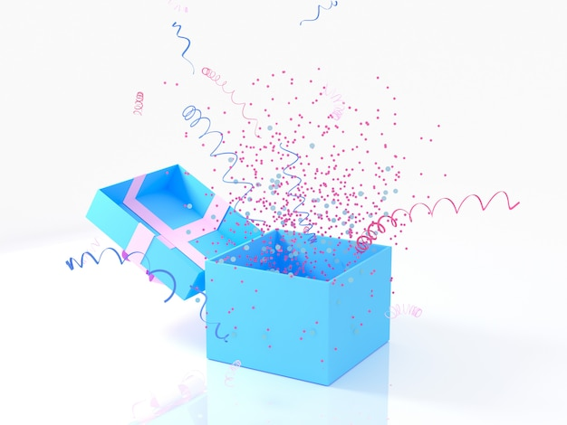 Blue gift box with golden bow on white background with decoration and sparkles party confetti, streamers. festive or present 3d rendering concept.