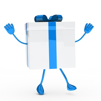 Blue gift with arms and legs
