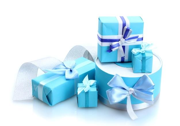 白で隔離の弓と青い贈り物