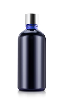 Синяя стеклянная бутылка с серебряным колпачком для дизайна косметического изделия бизнесмена