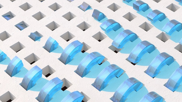 Blue glass half rings. abstract illustration, 3d render.