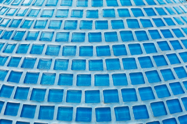Blue glass mosaic in the bathroom