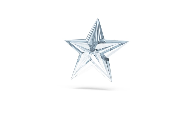 Символ звезды синего стекла, изолированные на белом фоне