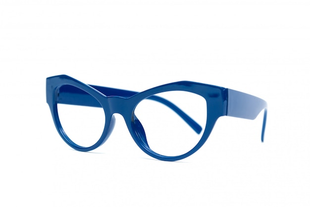 Blue glasses isolated on white background.